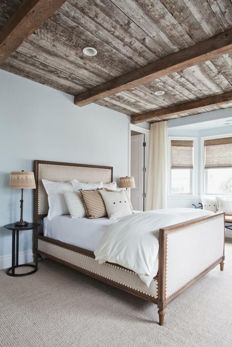 dormitorio diseño pendientes vigas tablones