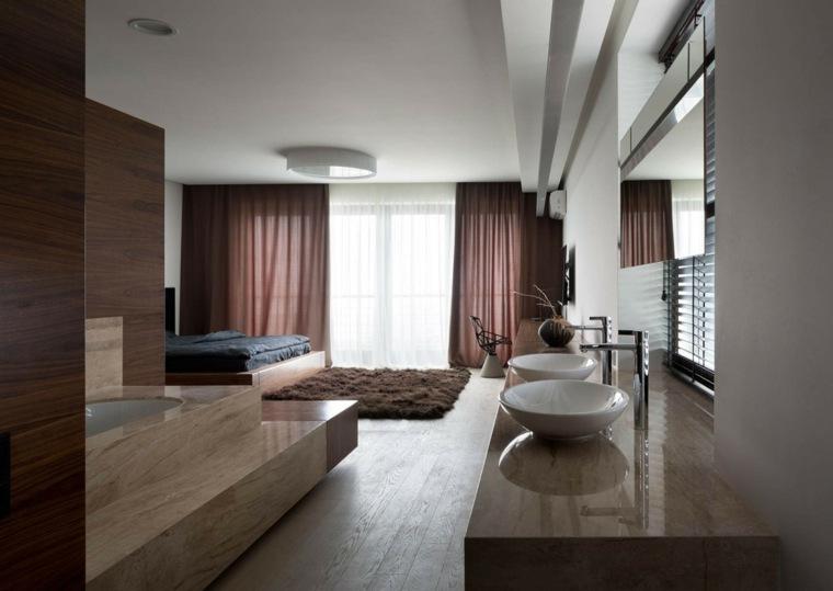 dormitorio diseno moderno bano dos lavabos ideas