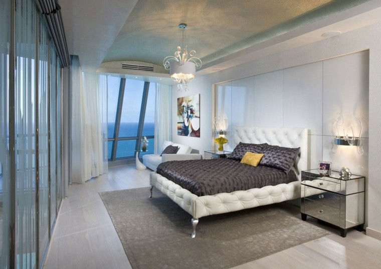 dormitorio diseno moderno cama cuero blanco ideas