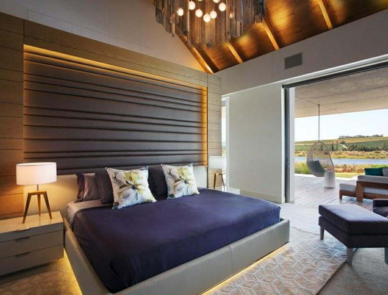 dormitorio diseno moderno cama iluminacion led ideas