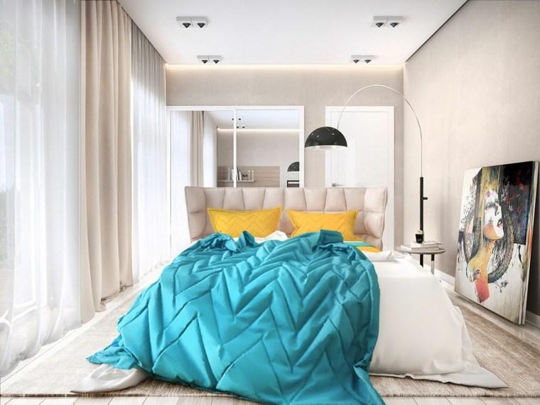 dormitorio diseno moderno cuadro pared beige ideas