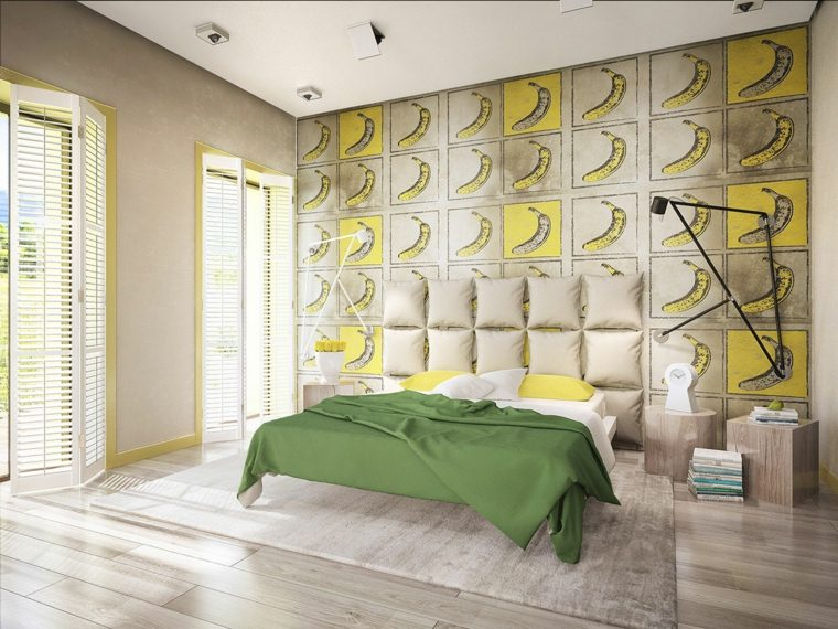 dormitorio diseno moderno estampa platanos pared ideas