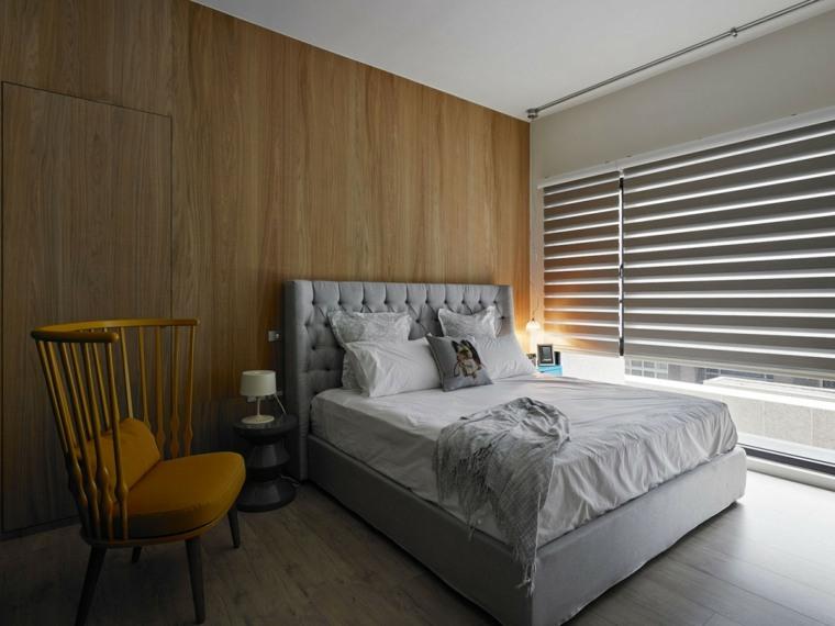 dormitorio diseno moderno estores pequeno espacio ideas