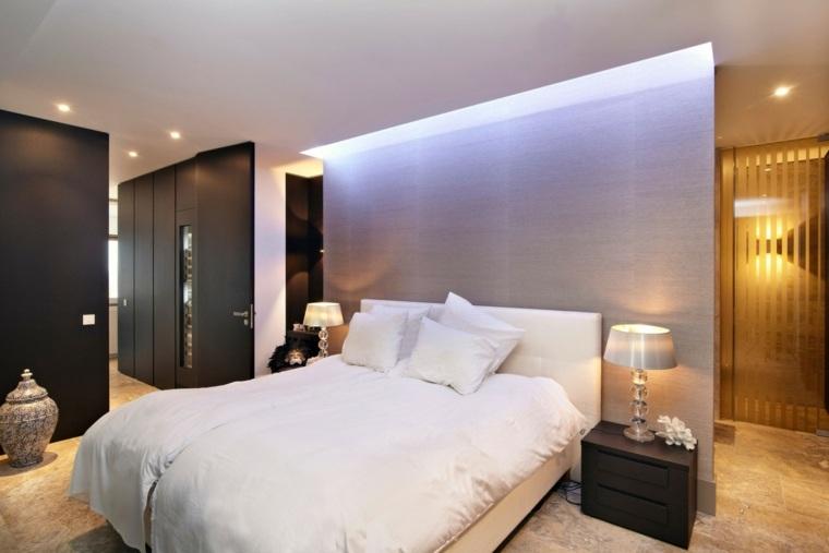 dormitorio diseno moderno pared separadora mesitas negras ideas