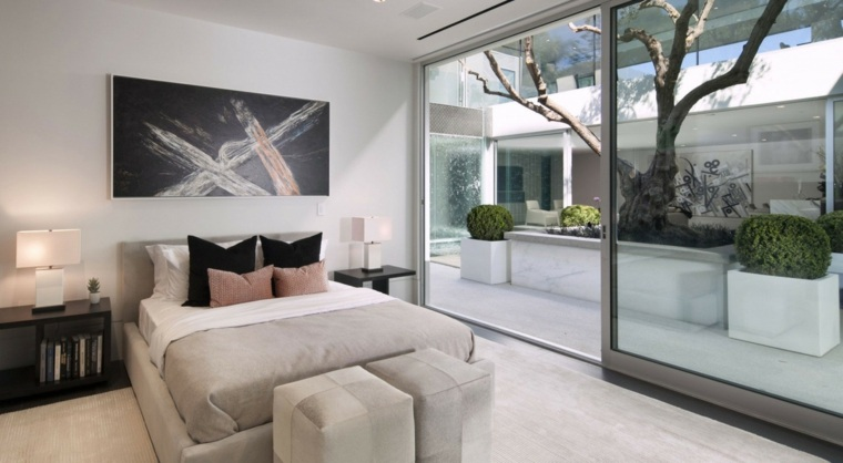 dormitorio diseno moderno taburetes precioso ideas