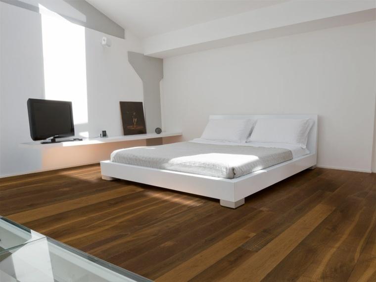 dormitorio diseno simple suelo parquet ideas
