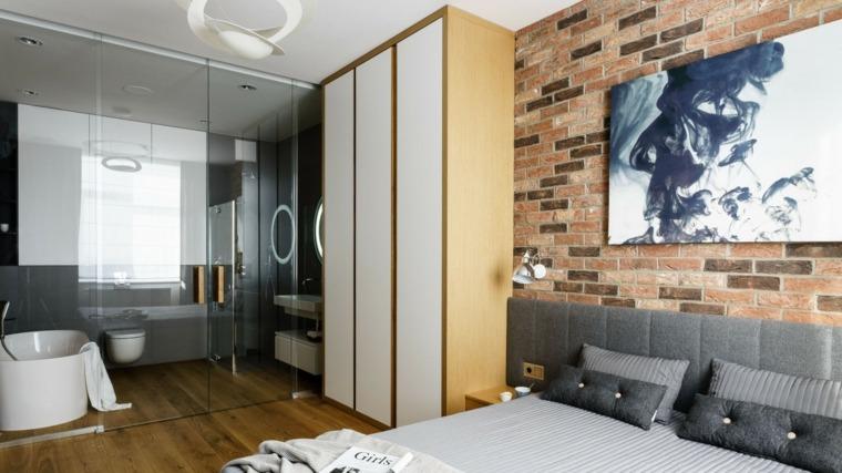dormitorios originales abiertos bano puertas cristal ideas