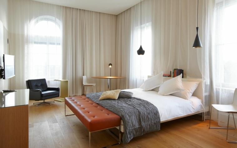 dormitorios originales banco cama cuero marron ideas