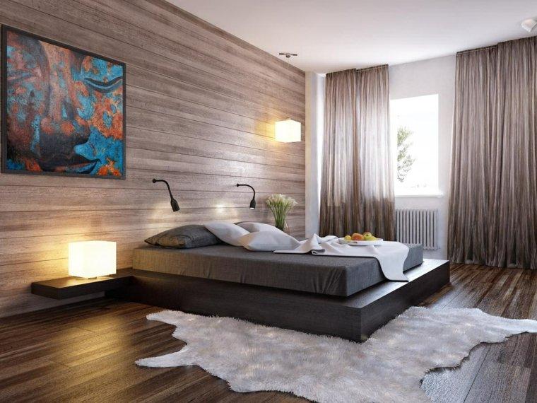 dormitorios originales cama madera negra cuadro ideas