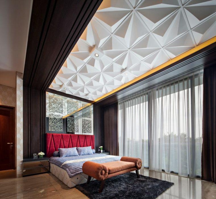 dormitorios originales cama respaldo rojo ideas