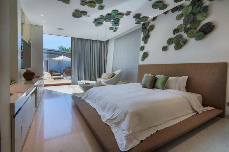 dormitorios originales hojas decorativas verdes pared techo ideas