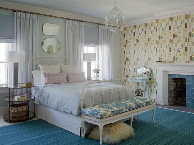 dormitorios vintage espejo mesa maletas blanca