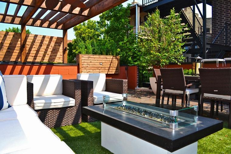 aire libre mesa fuego techo ideas pergola