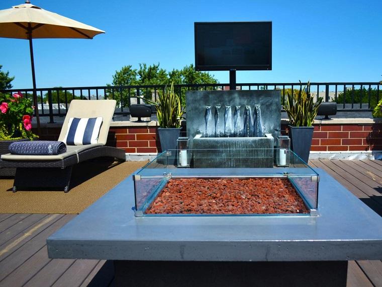 entretenimiento aire libre techo agua fuego ideas