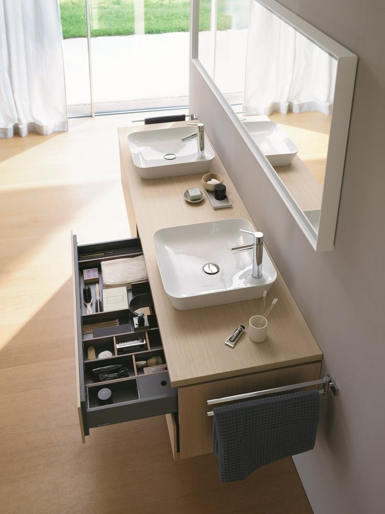 espejos para bao blanco lavabo madera ideas