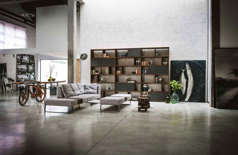 estante maderas libros sofa gris ideas