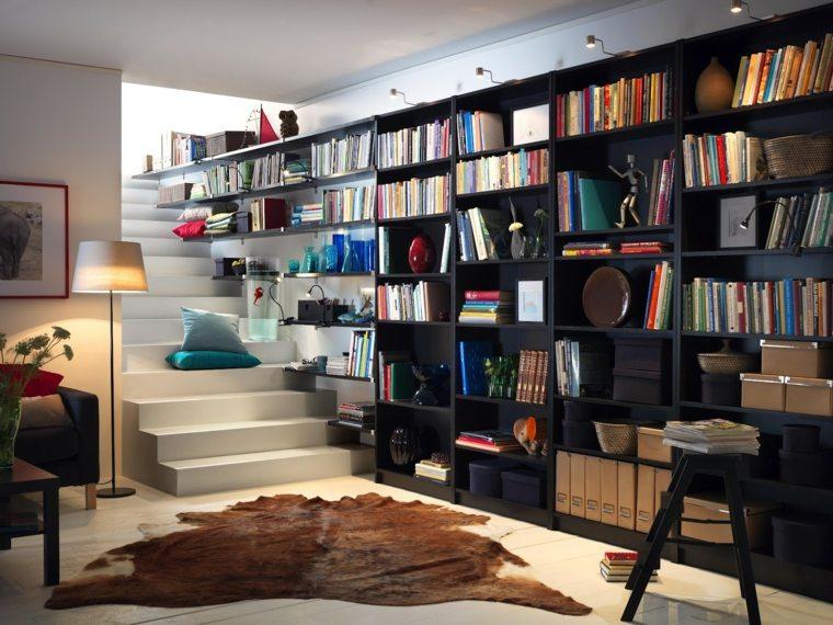 estantes mueble biblioteca negra moderna