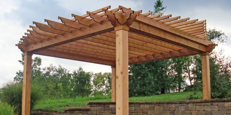 estupenda pergola madera natural