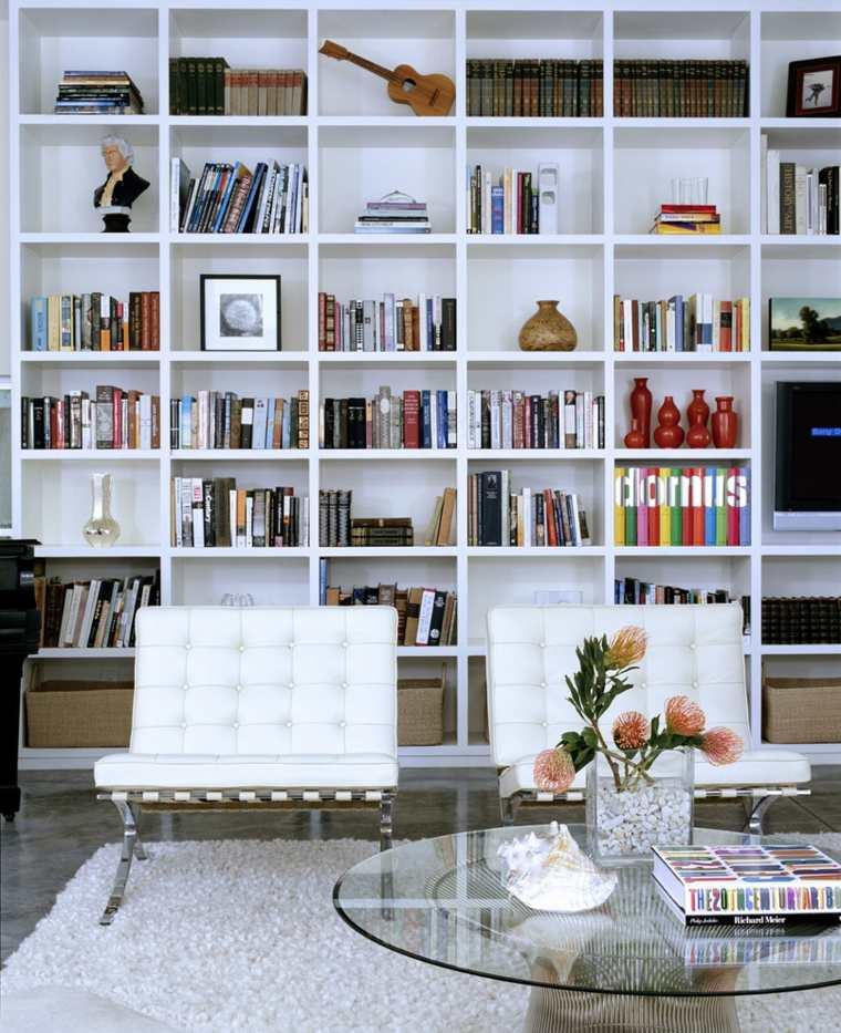 estupendo diseño biblioteca blanca