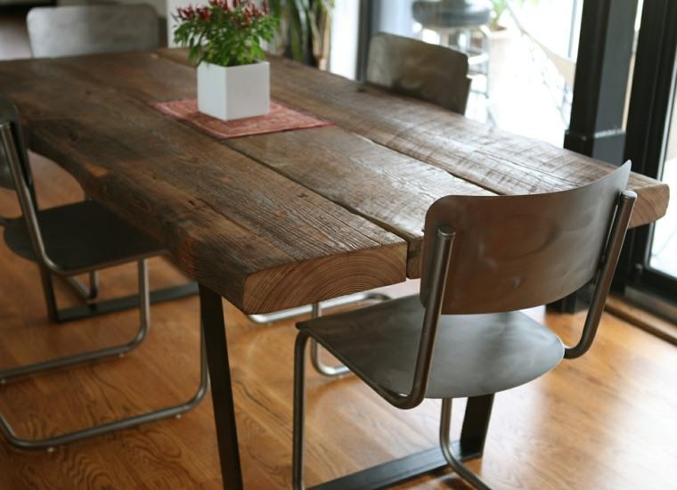 Mesas de comedor modernas de madera maciza 50 ideas for Mesas de comedor rusticas
