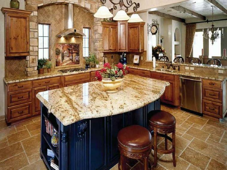 Decoraci n de cocinas antiguas 38 ideas geniales - Encimera marmol cocina ...