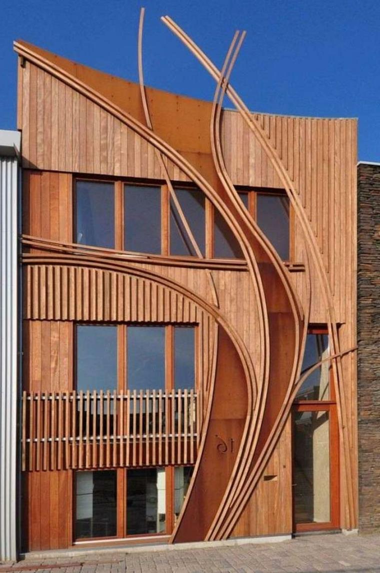 Fachadas de casas modernas treinta y ocho dise os - Imitacion madera para fachadas ...