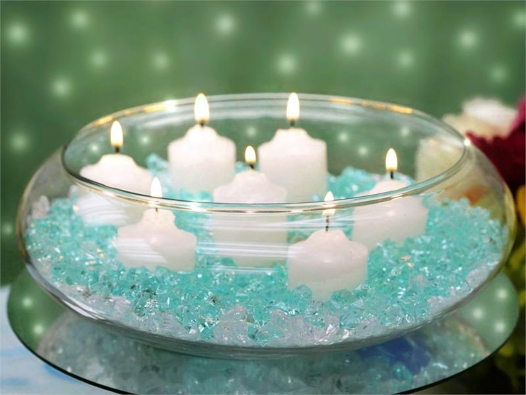 estupendo bol velas blancas cristyales