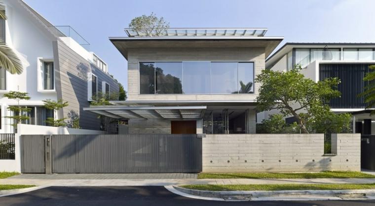 Fachadas de casas modernas treinta y ocho dise os for Casas contemporaneas en esquina