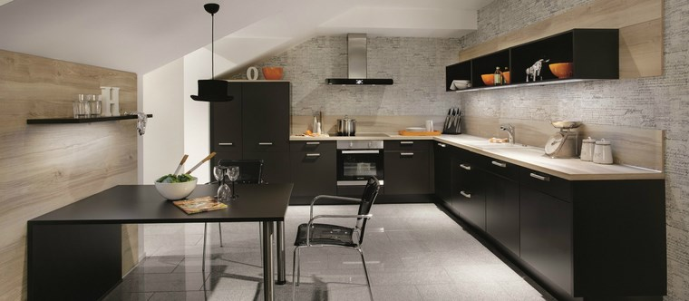 forma cocinas diseno L color negro ideas