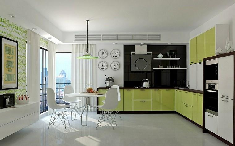 forma cocinas diseno L combinacion negro verde ideas