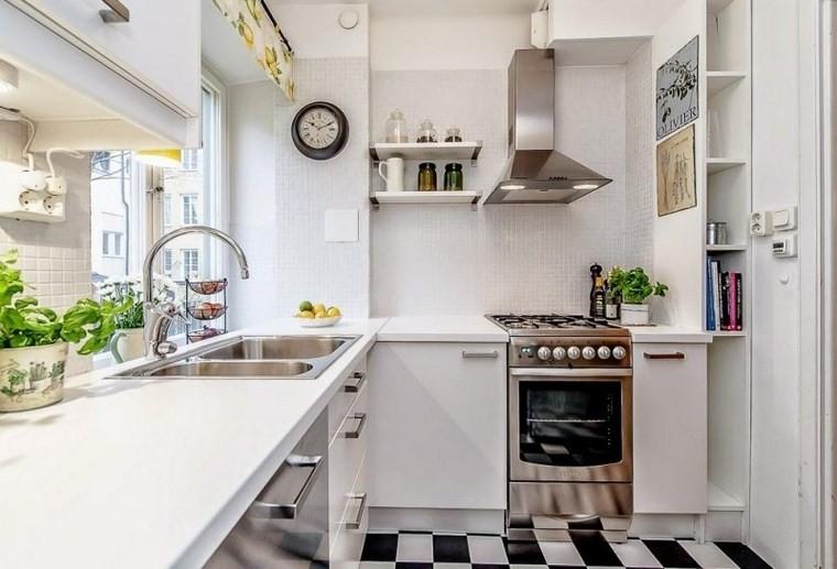 forma cocina diseno L espacios estrechos ideas