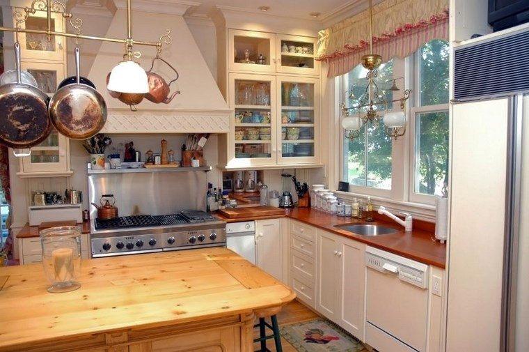 forma cocina diseno L mesa madera natural ideas