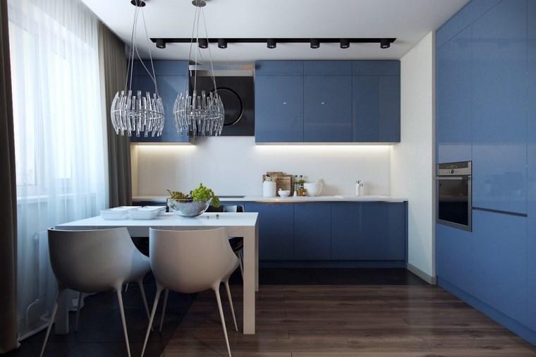 forma cocina diseno L muebles azules ideas