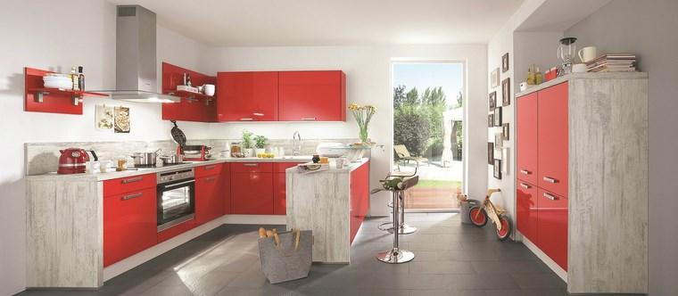 forma cocina diseno L muebles color rojo ideas