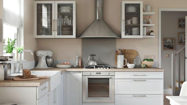 forma cocina diseno L muebles madera blanco ideas