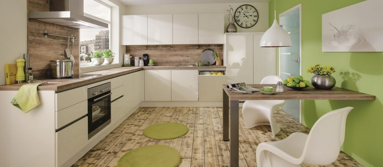 forma cocina diseno L pared verde ideas