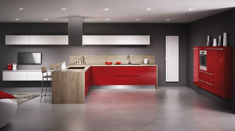 forma cocina diseno L rojo madera ideas