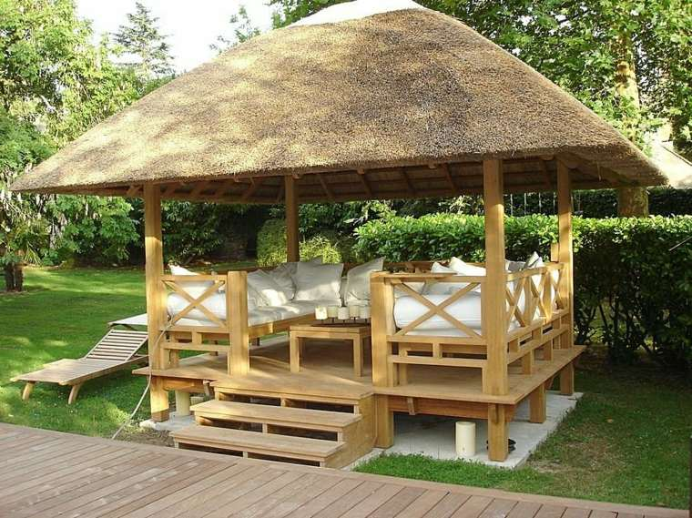 gazebo madera estilo tropical