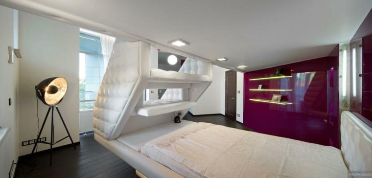 habitacion moderna estilo futurista minimal