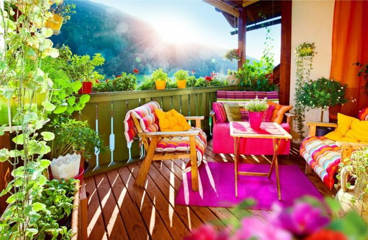 ideas colores decoracion de balcones terrazas