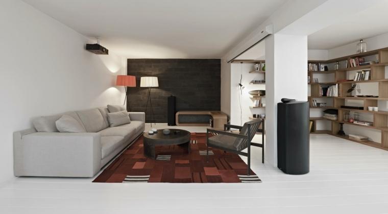 ideas decoracion interiores salones alfombra llamativa moderno