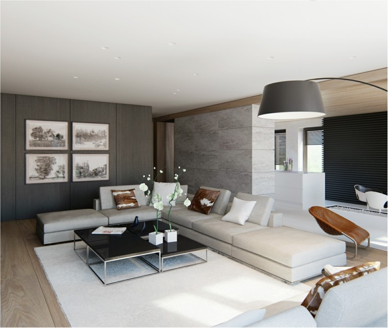 ideas decoracion interiores salones cuadors pared sofa grande moderno