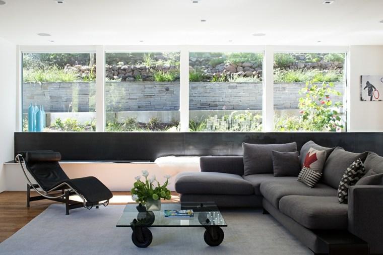 decoracion interiores salones mesita cristal ruedas ideas