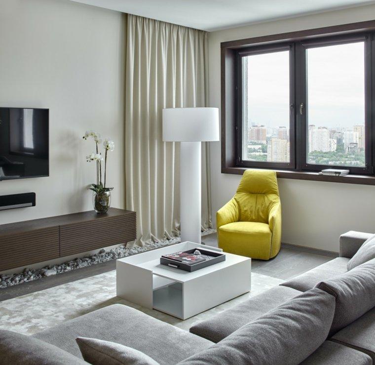 decoracion interiores salones muebles grices ideas