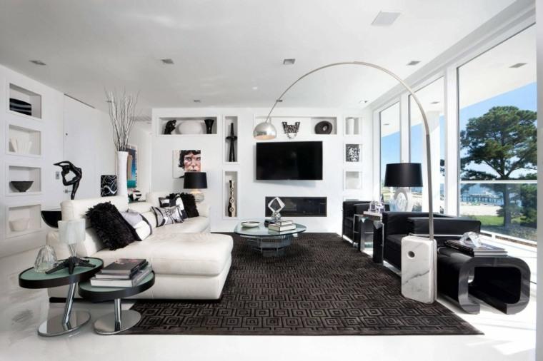 decoracion interiores salones residencia blanco negro moderno