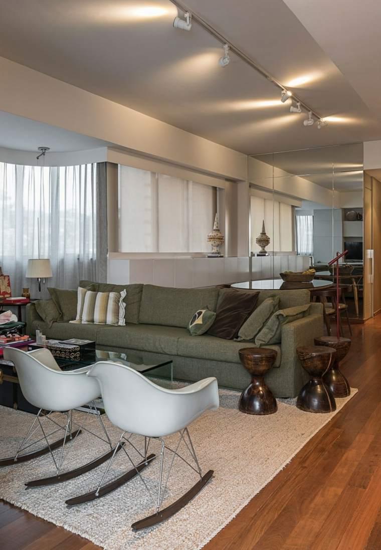 decoracion interiores salones sillas balanceantes blancas ideas
