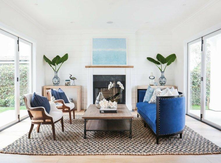 decoracion interiores salones sofa terciopelo azul ideas