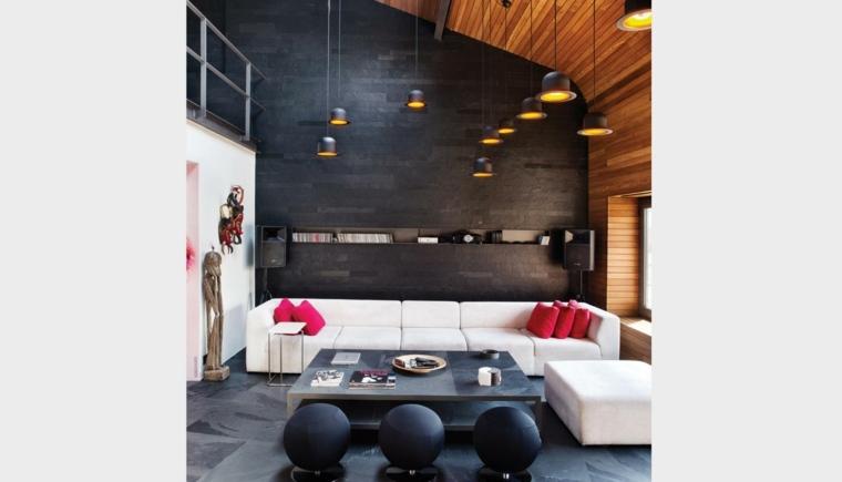 decoracion interiores salones taburetes negros ideas