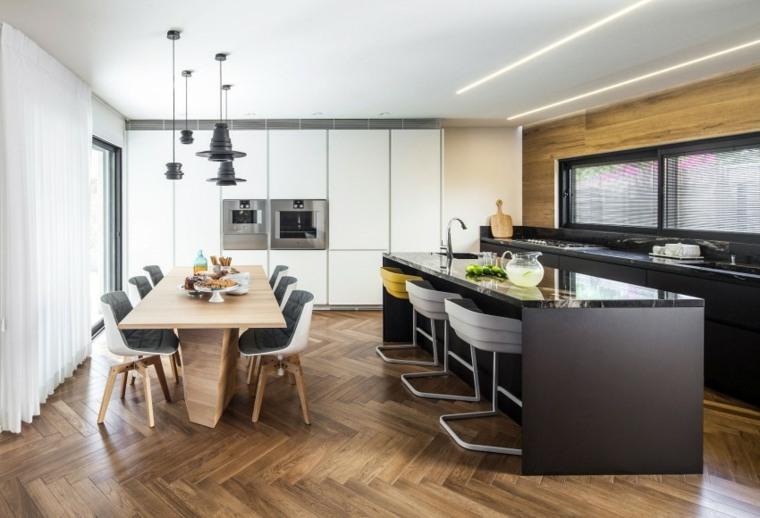 ideas para cocinas abiertas comedor negro moderna