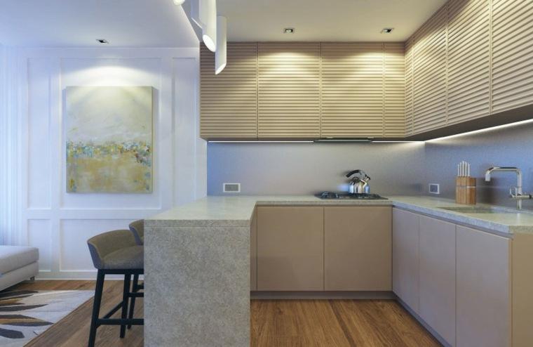 ideas para cocinas apartamento pequeno espacio estrecho moderna